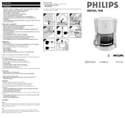 PHILIPS HD 7440 COMFORT Coffee maker download manual for