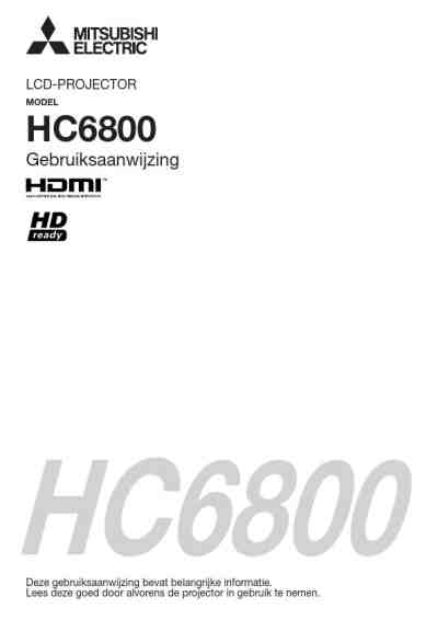 MITSUBISHI HC6800 Projector download manual for free now