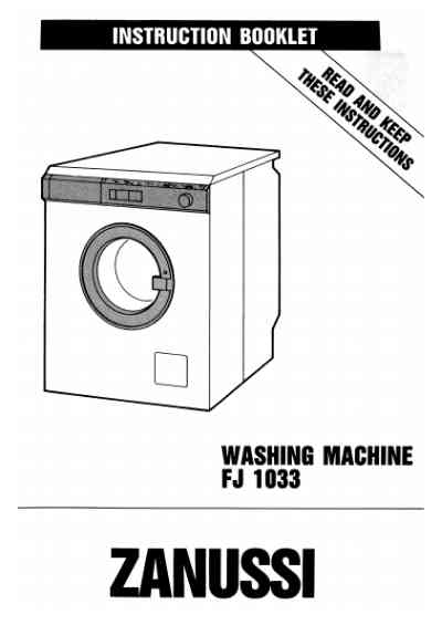 ZANUSSI FJ1033A Washing machine download manual for free