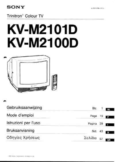 SONY KV-M2101D TV/ Television download manual for free now