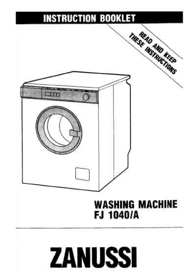 ZANUSSI FJ1040C Washing machine download manual for free