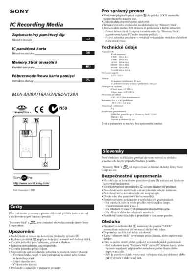 SONY MSA-64A Memory Card/ Reader/ Writer download manual