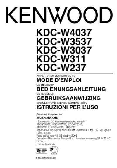 Kenwood Kdc-W3537 User Manual: full version free software