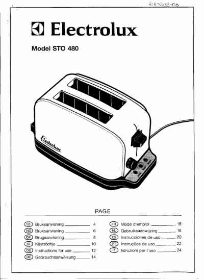 ELECTROLUX STO480 Toaster download manual for free now