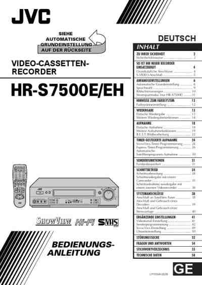 JVC HR S 7500 Video Recorder download manual for free now