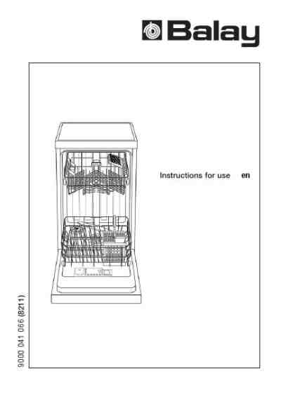 BALAY 3VN641BD Dishwasher download manual for free now