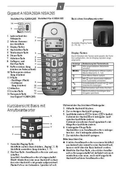SIEMENS GIGASET A165 DUO Mobile phone download manual for
