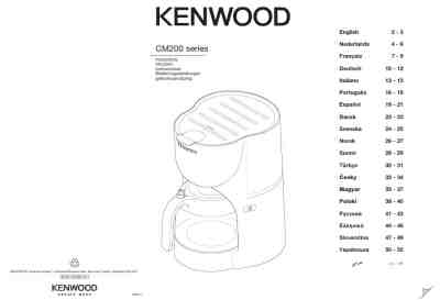 KENWOOD CM200 SERIES Coffee maker download manual for free