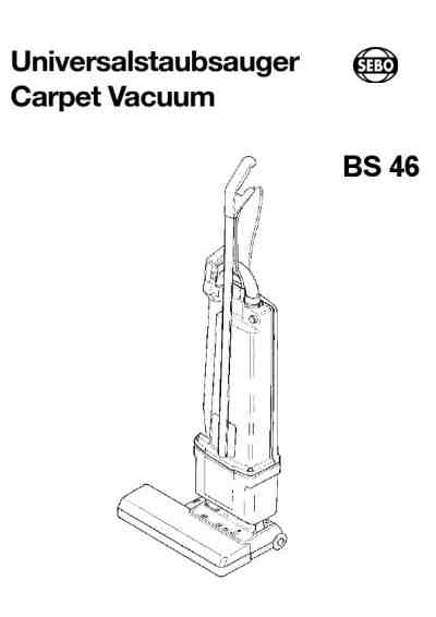 SEBO BS 46 Vacuum cleaner download manual for free now