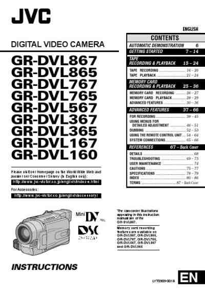 JVC GR-DVL160 Video Camera download manual for free now