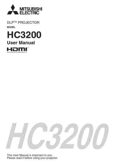 MITSUBISHI HC3200 Projector download manual for free now