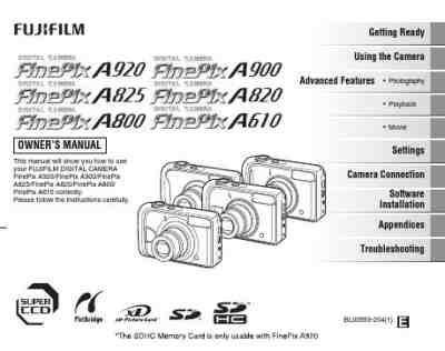 FUJIFILM FINEPIX A900 The camera/ Camera download manual