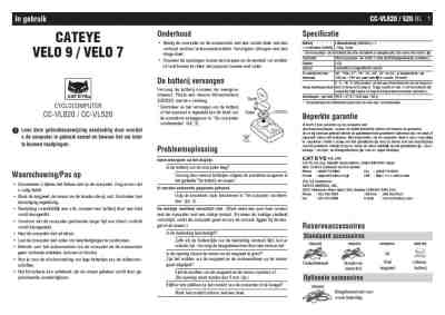 CATEYE VELO 7 Cyklocomputer download manual for free now