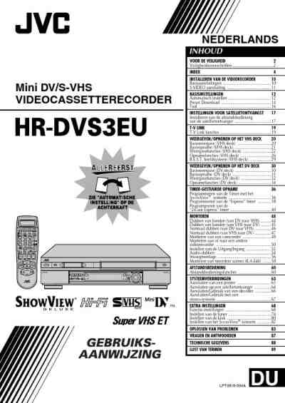 JVC HR DVS3EU Video Recorder download manual for free now