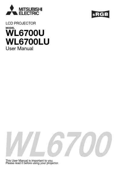 MITSUBISHI WL6700LU Projector download manual for free now