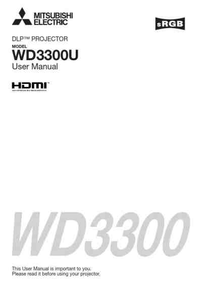MITSUBISHI WD3300U Projector download manual for free now
