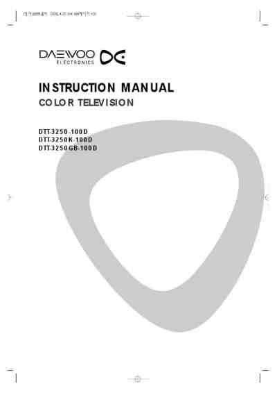 DAEWOO DTT3250-100D TV/ Television download manual for