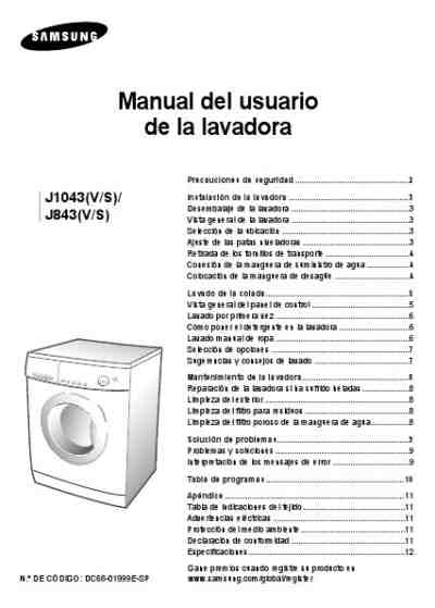 Samsung J Washing Machine Download Manual For Free Now