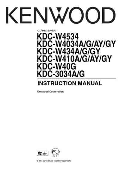 KENWOOD KDC-W4034 Car radio download manual for free now