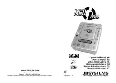 JBSYSTEMS MCD150 MP3 player/ walkman download manual for