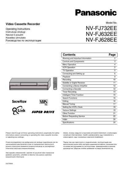 PANASONIC NV-FJ632EE Video Recorder download manual for