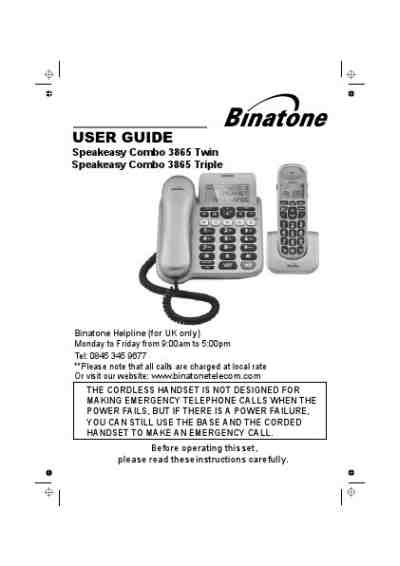 BINATONE SPEAKEASY COMBO 3865 Mobile phone download manual
