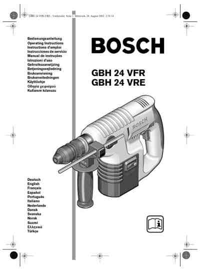 BOSCH GBH 24,0 VRE Tools download manual for free now