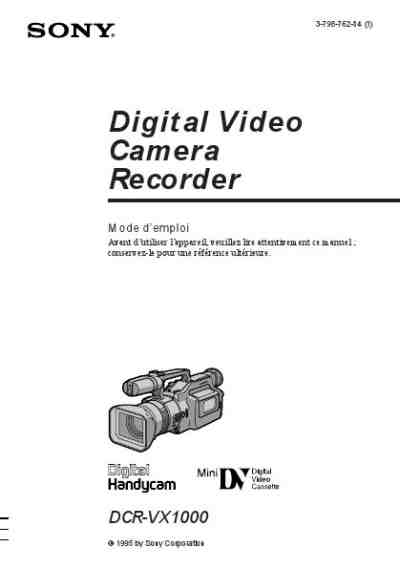 SONY DCR-VX1000 The camera/ Camera download manual for