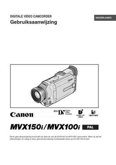 CANON MVX150I Video Camera download manual for free now