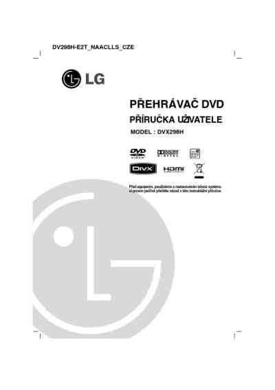 LG DVX298H DVD/ Blu-ray player download manual for free