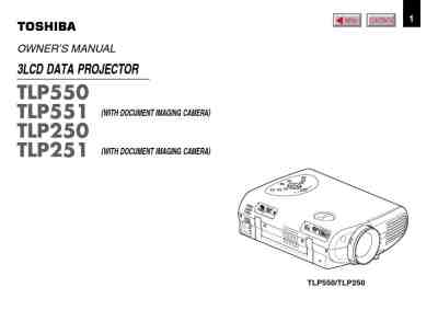 TOSHIBA TLP 550 LCD PROJECTOR Projector download manual