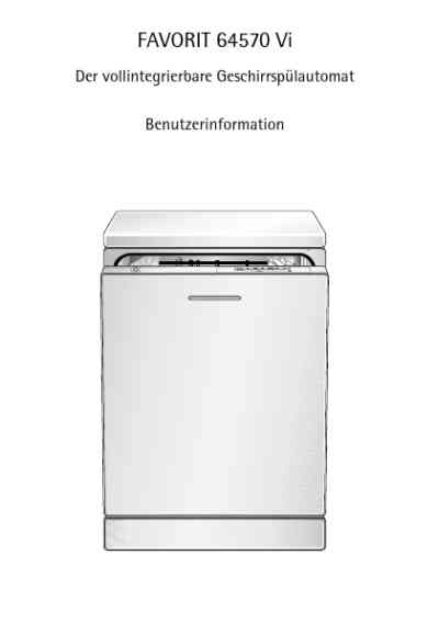 AEG-ELECTROLUX F64570VI Dishwasher download manual for