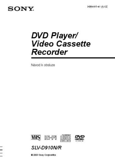 SONY SLV D910R Video Recorder download manual for free now