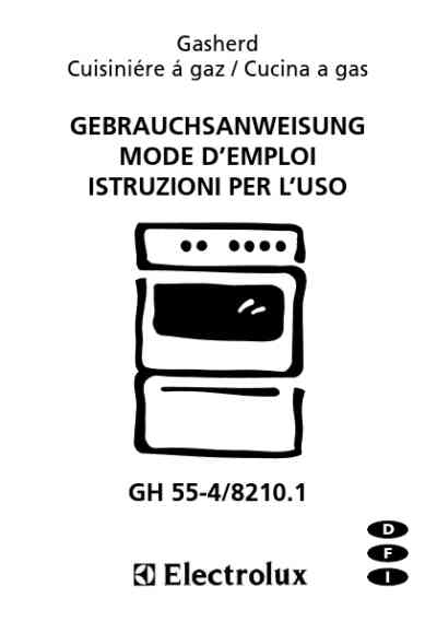 ELECTROLUX GH5548210 Cooker/ stove download manual for