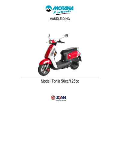 SYM TONIK 125CC Vehicles download manual for free now