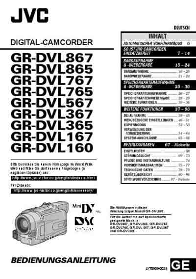 JVC GR-DVL367 Video Camera download manual for free now