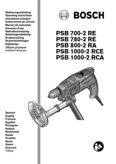BOSCH PSB 1000-2 RCA Tools download manual for free now