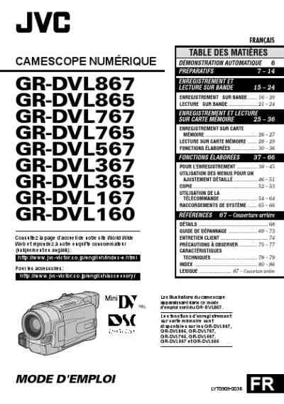 JVC GR-DVL167 Video Camera download manual for free now