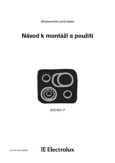 ELECTROLUX EHS 6651 P Hob download manual for free now