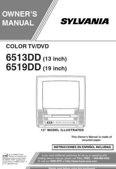 SYLVANIA 6519DD TV/ Television download manual for free