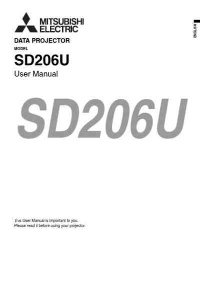 MITSUBISHI SD206U Projector download manual for free now