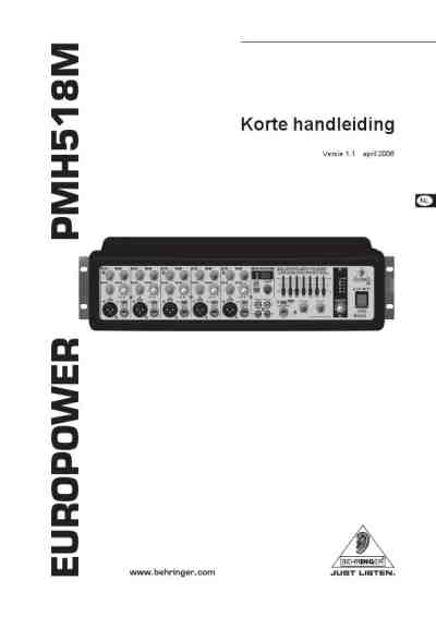 BEHRINGER PMH518M Dj console download manual for free now