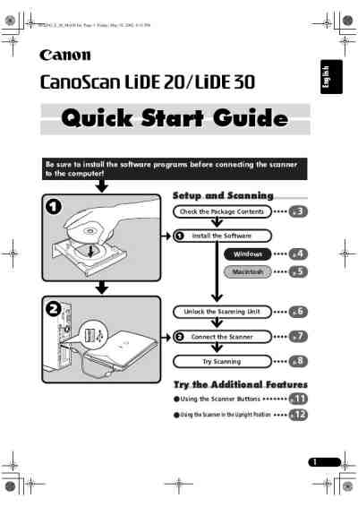 CANON LIDE 30 SCANNER Scanner download manual for free now