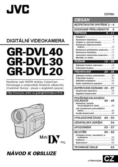 JVC GR DVL30 Video Camera download manual for free now
