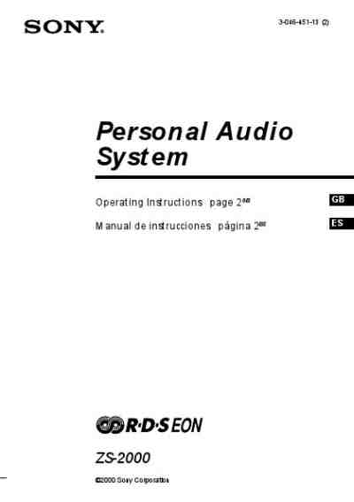 SONY ZS-2000 HiFi system download manual for free now