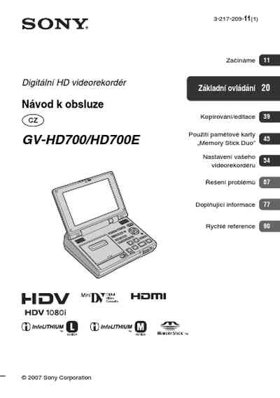 SONY GV HD700 Video Recorder download manual for free now