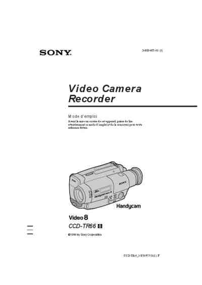 SONY CCD-TR66 Video Camera download manual for free now