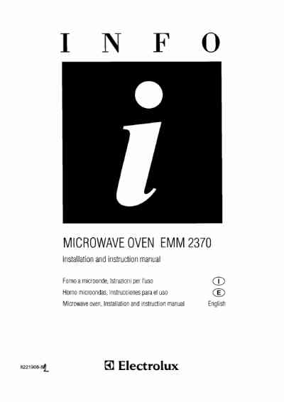 ELECTROLUX EMM2370 Microwave oven download manual for free