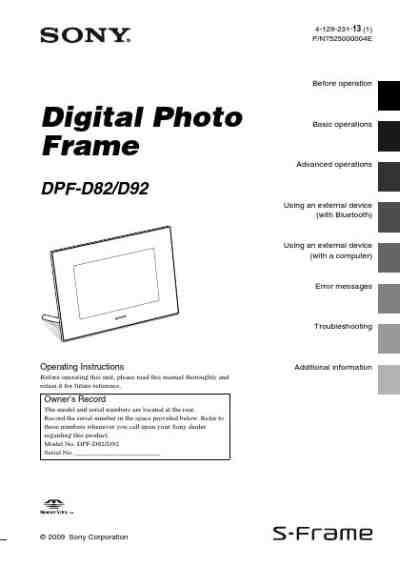SONY DPF D92 Photo Frame download manual for free now
