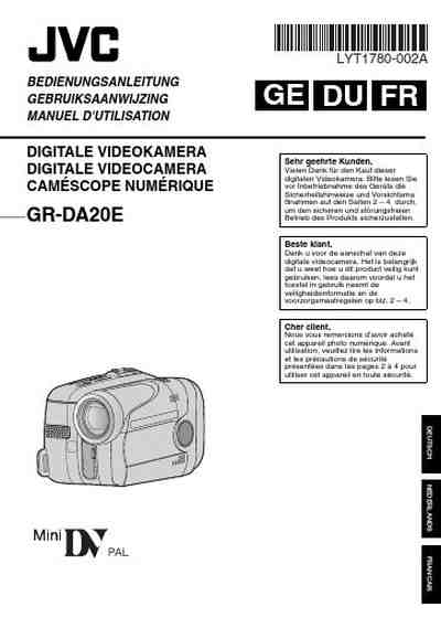 JVC GR-DA20 Video Camera download manual for free now